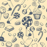 Vector hand drawn seamless pattern with sweets and candies. Vintage illustration for design menus, recipes and packages Royalty Free Stock Photography