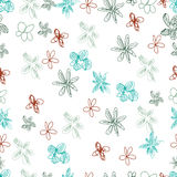 Vector hand drawn seamless pattern. Valentines day. Hearts, flowers. Doodles, sketches royalty free illustration