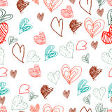 Vector hand drawn seamless pattern. Valentines day. Hearts, flowers. Doodles, sketches Stock Images