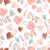 Vector hand drawn seamless pattern. Valentines day. Stock Illustration