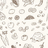 Vector hand drawn seamless pattern Vegeterian food. Vegetables, fruits. Royalty Free Stock Photo