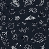Vector hand drawn seamless pattern Vegeterian food. Vegetables, fruits. Stock Image