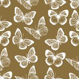 Pattern of white butterflies on brown background. Vector hand drawn seamless pattern of white butterflies on brown background vector illustration