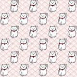 Vector hand drawn seamless pattern with white japanese maneki neko lucky cats Royalty Free Stock Photos