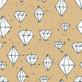 Vector hand drawn seamless repeat pattern with watercolor diamon. D crystals. Grunge background. Design concept for fabric design, textile print, wrapping paper Stock Photography
