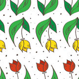 Vector hand drawn seamless tulips pattern. Can be Stock Images
