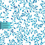 Vector hand drawn seamless watercolor blue leaves natural decorative floral ornamental pattern Royalty Free Stock Images