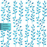 Vector hand drawn seamless watercolor blue leaves natural decorative floral ornamental pattern Stock Images