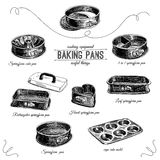 Vector hand drawn set with bakery pans Royalty Free Stock Image