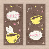 Vector hand drawn set of banners with cute cat and cup of coffee. Can be used as decorative element in coffee shop design Royalty Free Stock Image