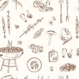 Vector hand drawn set with barbecue seamless pattern. Royalty Free Stock Image