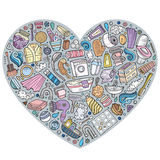 Vector hand drawn set of Bathroom cartoon doodle objects Royalty Free Stock Photos