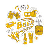 Vector hand drawn set with beer. Royalty Free Stock Photo
