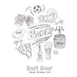 Vector hand drawn set with beer. Royalty Free Stock Images
