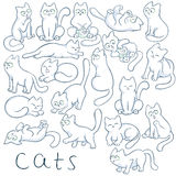 Vector hand drawn set of cats in different poses. These fluffy, cute kitties are jumping, sitting, climbing, sleeping Stock Image