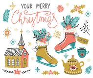 Vector hand drawn set of Christmas design elements with lettering - `Your merry Christmas`. Vector hand drawn set of Christmas design elements with lettering Royalty Free Stock Photo