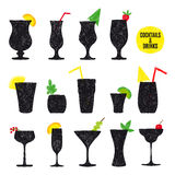 Vector hand drawn set of cocktails and alcohol Royalty Free Stock Photos