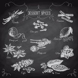 Vector hand drawn set with Dessert Spices. Vintage Royalty Free Stock Photos