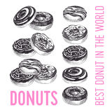 Vector hand drawn set of donuts Illustration. Stock Images