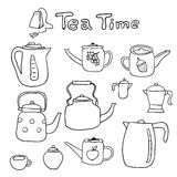 Vector hand drawn set of doodle teapots Royalty Free Stock Photos
