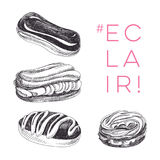 Vector hand drawn set of eclair Illustration. Sketch vintage style. Design template. Retro background Royalty Free Stock Photography