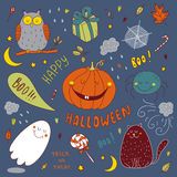 Vector hand drawn set for halloween Royalty Free Stock Photography