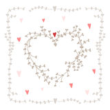 Vector hand drawn set - heart shaped wreath, hearts and twigs. Stock Photos