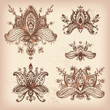 Vector hand drawn set of henna floral lotos elements based on tr Stock Image