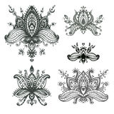 Vector hand drawn set of henna floral lotos elements based on tr Stock Photography