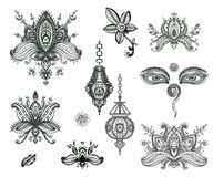 Vector hand drawn set of henna floral lotos elements, eyes and l Royalty Free Stock Image