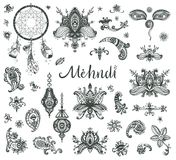 Vector hand drawn set of henna floral lotos elements, eyes and l. Anterns based on traditional asian ornaments. Mehendi Tattoo Doodles collection, monochrome Royalty Free Stock Image