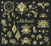 Vector hand drawn set of henna floral lotos elements, eyes and l. Anterns based on traditional asian ornaments. Mehendi Tattoo Doodles collection, golden Stock Images