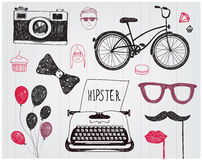 Vector hand-drawn set of hipster style elements Royalty Free Stock Photos
