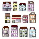 Vector hand-drawn set: houses and real estate. Vector handdrawn set for your design: city houses and real estate Royalty Free Stock Image
