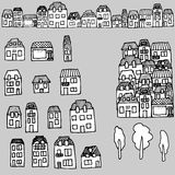 Vector hand-drawn set: houses and real estate. Vector handdrawn set for your design: city houses and real estate Royalty Free Stock Photography