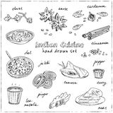 Vector hand drawn set of Indian cuisine. traditional spicy flavored dishes, desserts, beverages. Vintage illustration for design menus, recipes and packages Stock Photos