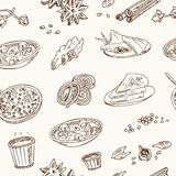 Vector hand drawn set of Indian cuisine. traditional spicy flavored dishes, desserts, beverages. Vintage illustration for design menus, recipes and packages Royalty Free Stock Photography