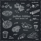 Vector hand drawn set of Indian cuisine. traditional spicy flavored dishes, desserts, beverages. Royalty Free Stock Photos