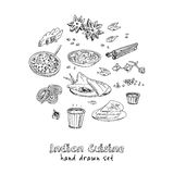 Vector hand drawn set of Indian cuisine. traditional spicy flavored dishes, desserts, beverages. Royalty Free Stock Image