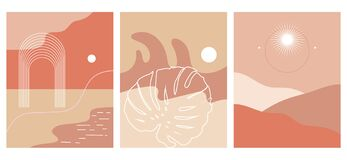 Vector hand drawn set of  landscapes.