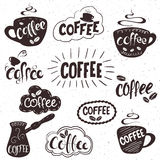 Vector hand drawn set of lettering coffee badge, labels, signs. Monochrome design with stylish elements. Royalty Free Stock Image