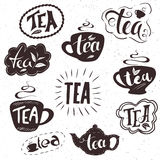 Vector hand drawn set of lettering tea badge, labels, signs. Monochrome design with stylish elements. Royalty Free Stock Images