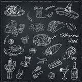 Vector hand drawn set of Mexican food Stock Photos