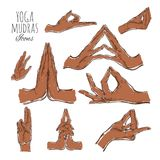 Vector hand drawn set of mudras. Isolated on white. Yoga. Spirituality. Colorful Royalty Free Stock Images