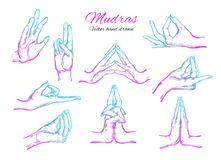 Vector hand drawn set of  mudras Isolated on white. Yoga. Spirituality Royalty Free Stock Photos