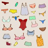 Vector hand drawn set with panty, lingerie and und Stock Photography