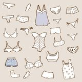 Vector hand drawn set with panty, lingerie and und Royalty Free Stock Photography