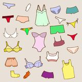 Vector hand drawn set with panty and lingerie Stock Photo