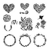 Vector Hand Drawn Set Of Round Frames, Flovers, Hearts, Wreaths. Royalty Free Stock Images