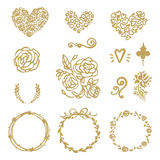 Vector Hand Drawn Set Of Round Gold Frames, Flovers, Hearts, Wreaths.  On white Background Royalty Free Stock Images